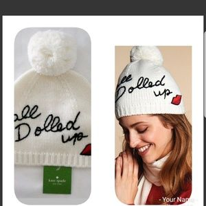 NWT Kate Spade all dolled up beanie hat